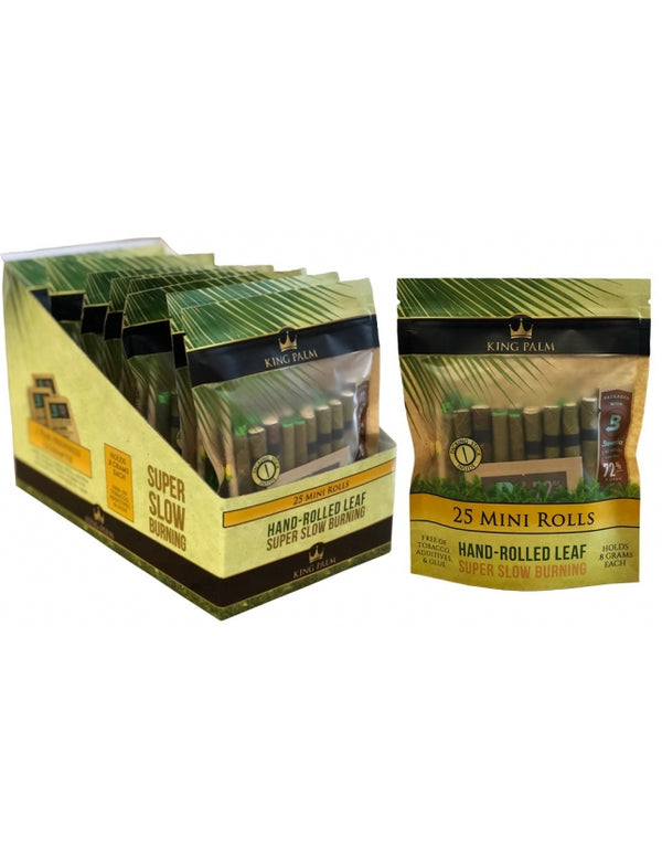 King Palm Super Slow Burning Wraps - 25 Mini Rolls (8 Count)