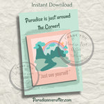"""JUST AROUND THE CORNER"" Instant Download Greeting Card (5""x7"" folded)"