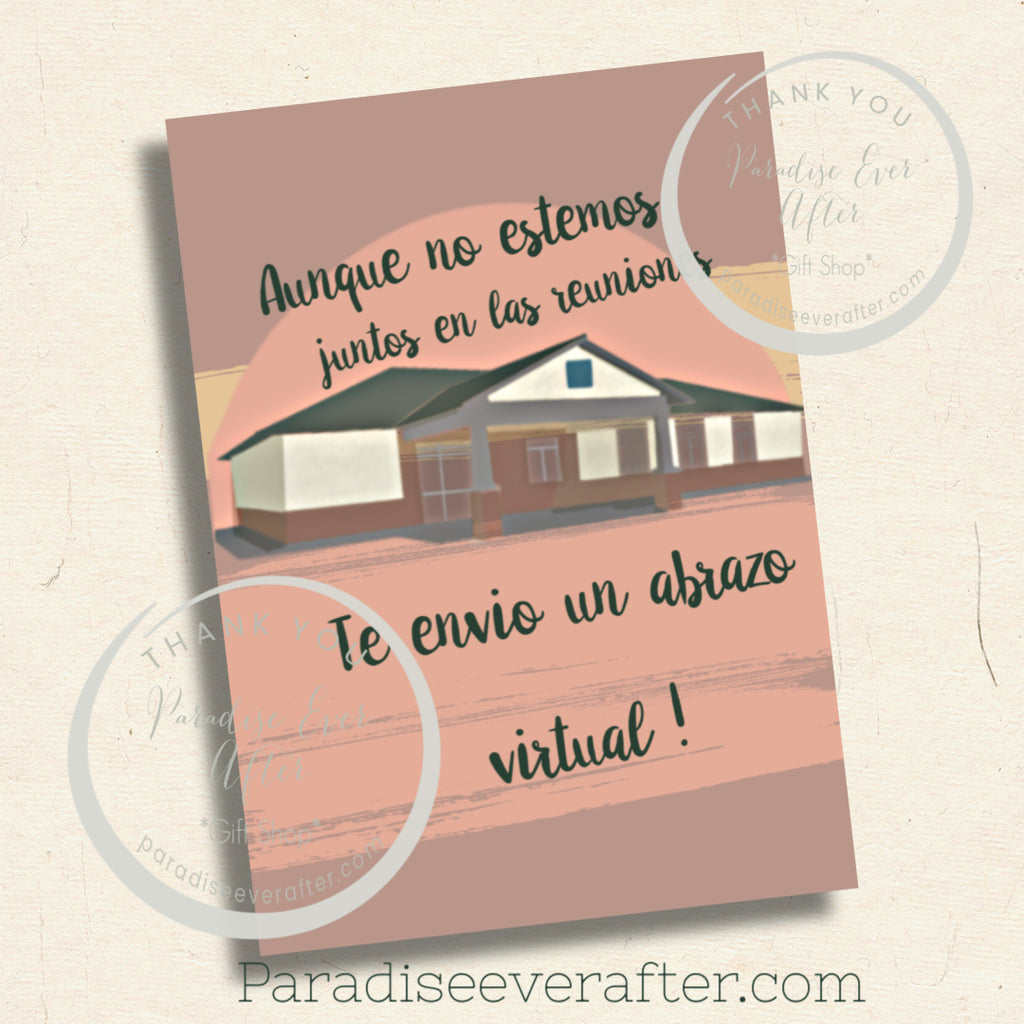 "AUNQUE NO ESTEMOS JUNTOS EN LAS REUNIONES Instant Download Greeting Card (5""x7"" folded)"