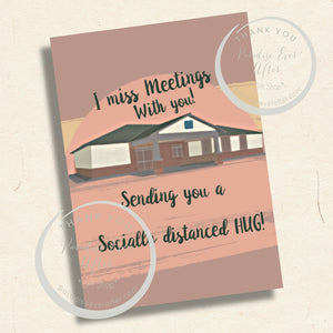 """MISSING MEETINGS WITH YOU"" Instant Download Greeting Card (5""x7"" folded)"