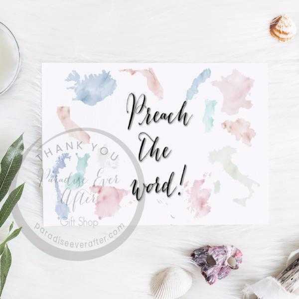 Preach the Word map Greeting Card