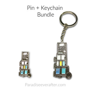 "Preaching Cart Keychain/ Pin Bundle: ""What a feeling to go Wheeling"""