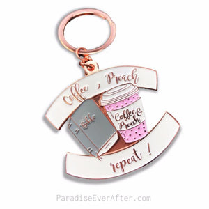 Coffee, Preach, Repeat: Enamel Key Chain