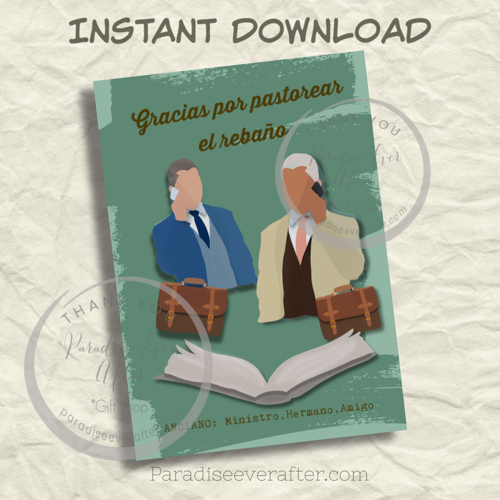 "Anciano te apreciamos(SPANISH) Instant Download Greeting Card (5""x7"" folded)"