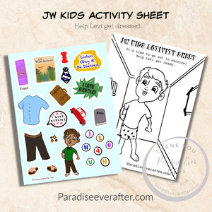 Sticker activity sheet, Help Levi get dressed for service!