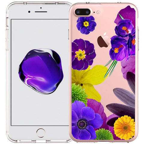 Apple iPhone 7 Plus Ultra Slim See-through Design Case -Purple Flower