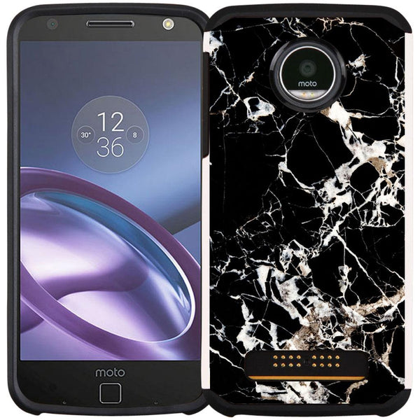 Moto Z Play Droid Case - Slim Hybrid Case Dual Layer Protective Phone Cover