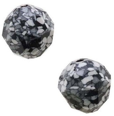 #5000 Marbled Black Ceramic 8mm Round (lot of 12)