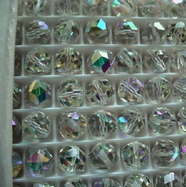 #5007 Clear AB 11mm Rocky Cut Round Crystals (lot of 12)
