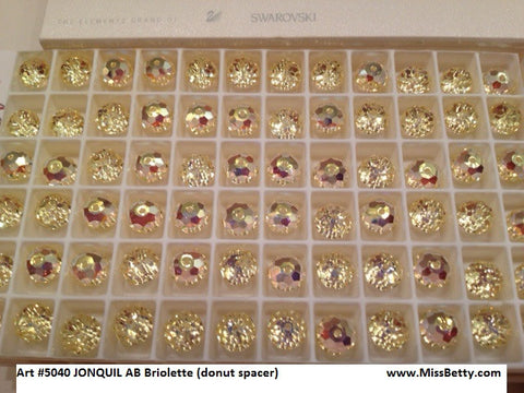 #5040 Jonquil AB 8mm Briolette donut spacer (Lot of 12)
