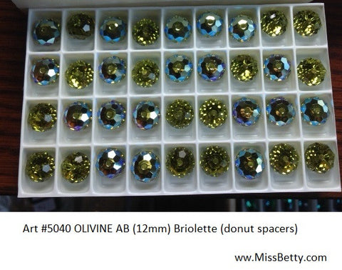#5040 Olivine AB 12mm donut spacer (Lot of 6)