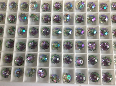 "#5040 Crystal Paradise Shine 6mm and 8mm Briolette ""Donut"" Spacer (lot of 12)"
