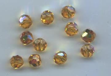 #39/5300 Light Topaz AB 7mm & 8mm Round Crystals (lot of 24)