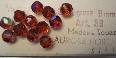 #39/5300 Madeira Topaz AB 9mm Crystals (lot of 12)