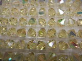 #5301 Swarovski Jonquil AB 8mm and Jonquil AB 10mm Bicone Crystals (lot of 12)