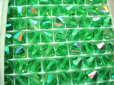 #5301 Peridot AB 8mm Bicone Crystals (lot of 12)