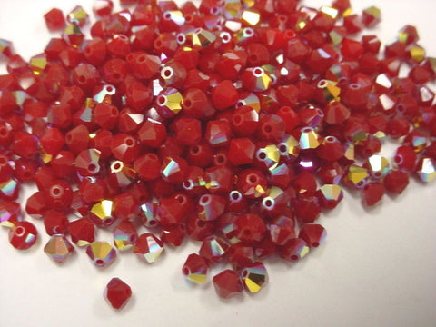 #5301 Dark Red Coral AB 6mm Bicone (lot of 24)