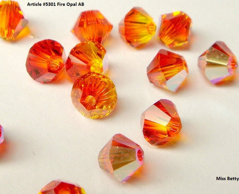 #5301 Fire Opal and Fire Opal AB 6mm Bicone (lot of 30)