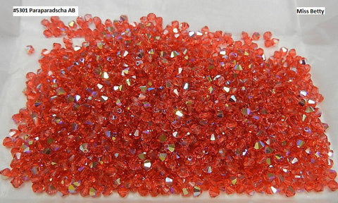#5301 Padparadscha AB 4mm and 5mm Bicones (lot of 36)
