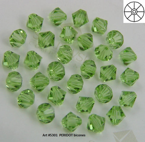 #5301 Peridot 4mm Bicone Crystals (lot of 72)