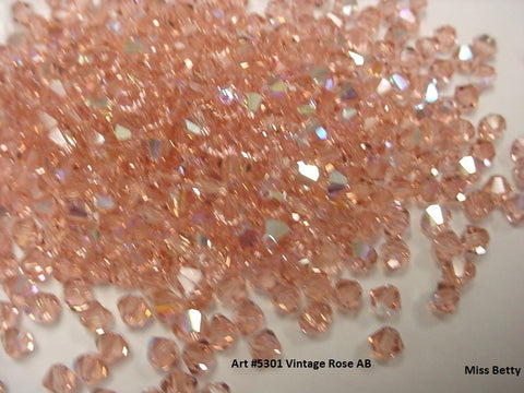 #5301 Vintage Rose AB 4mm Bicone (lot of 72)