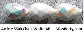 #5500 Chalk White AB 18mm by 12mm Teardrop (lot of 4)