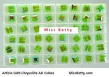 #5601 Chrysolite AB 8mm cube (Lot of 12)