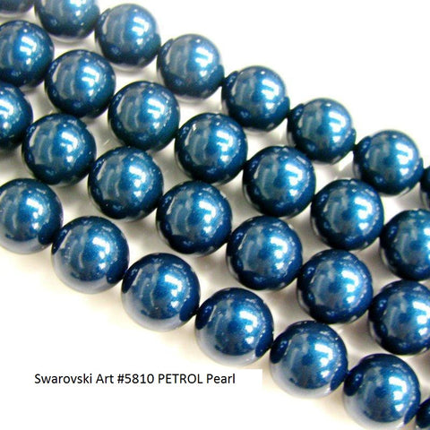#5810 PETROL 8mm Pearls (lot of 25)