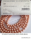#5810 ROSE PEACH 6mm Pearls (lot of 50)