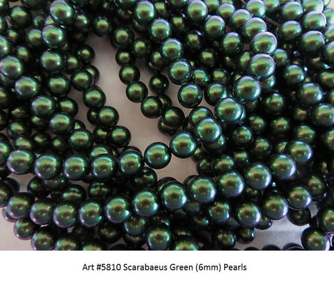 #5810 SCARABAEUS GREEN 6mm Pearls (lot of 50)