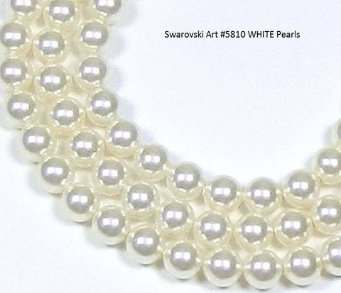 #5810  6mm, 7mm, and 8mm White Pearls