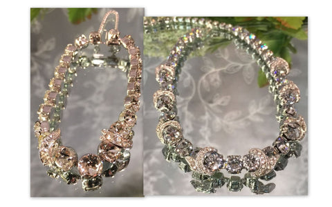 EISENBERG ICE Vintage Demi, Large Clear Rhinestone Necklace and Bracelet - Signed