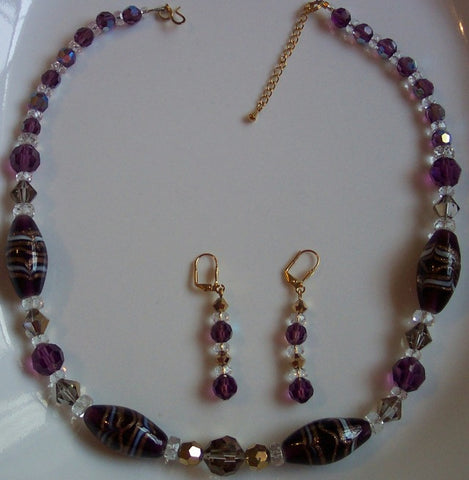 Amethyst Lampwork and Swarovski Gold Aurum Necklace & Earrings