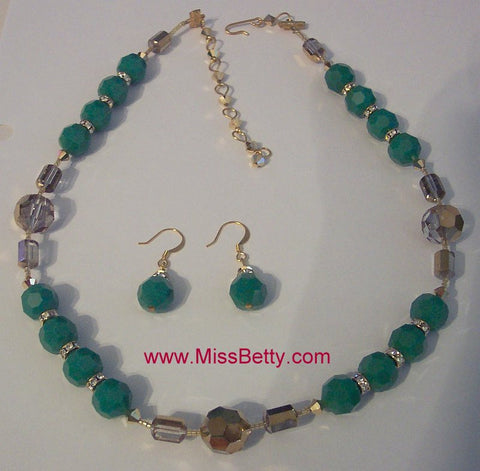 Apple Green and Gold Aurum Swarovski Crystal Necklace & Earrings