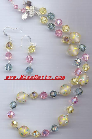 Aqua, Rose, Jonquil Crystal and Floral Lampwork Necklace and Earrings