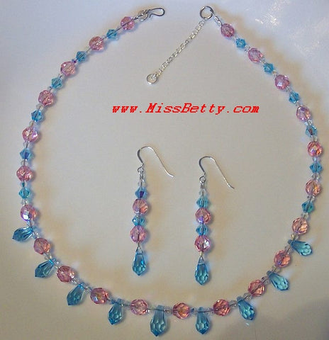 Aqua Pendant and Swarovski Crystal Necklace & Earrings