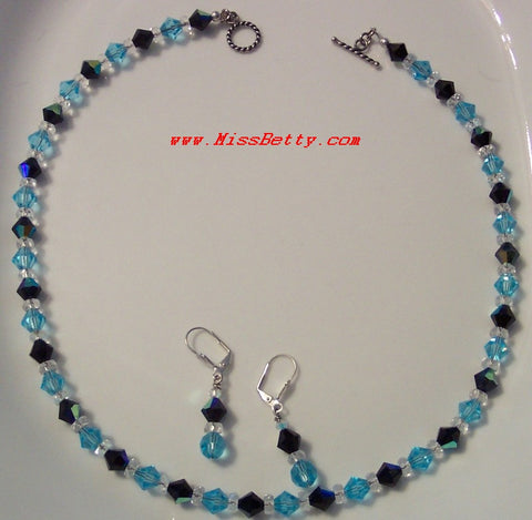 Aquamarine and Jet AB Bicone Swarovski Necklace & Earrings