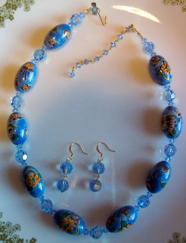 Aquamarine AB Swarovski and Porcelain Necklace and Earrings