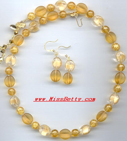 Beige, Light Topaz & Vintage German Glass Necklace & Earrings