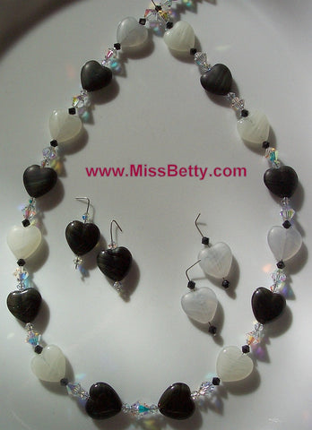 Black and White Givre Heart with Swarovski Clear AB Necklace and Earrings