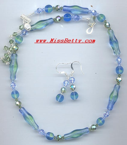 Blue and Green Unique Glass with Swarovski Erinite Crystal Necklace & Earrings