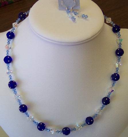 Blue Rhinestone Stud Lucite & Swarovski Crystal Necklace & Earrings