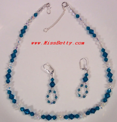 Blue Zircon and Clear AB Swarovski Necklace & Earrings