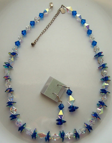 Capri Blue Pendant and Rare 5121 Swarovski Necklace & Earrings