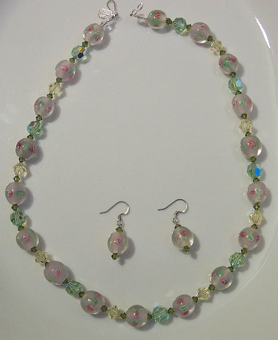 Chrysolite and Jonquil with Rose Lampwork Necklace & Earrings