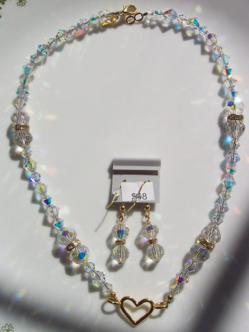 Swarovski Clear AB Crystals, Rhinestone Rondelles and Gold Heart Necklace & Earrings