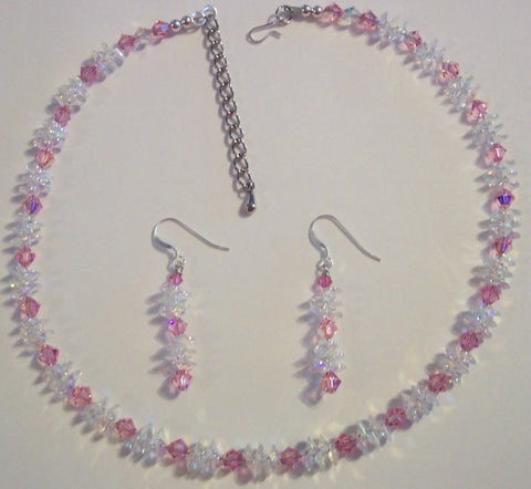 Clear AB Pendants and Rose Swarovski Necklace & Earrings