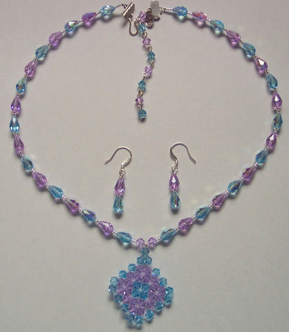 Aquamarine and Violet Swarovski Woven Crystal Pendant Necklace and Earrings