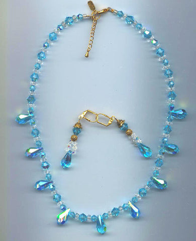 Aquamarine AB Rare Swarovski Pendant Necklace & Earrings