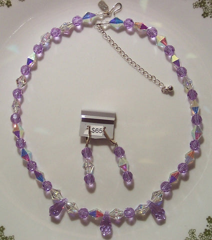 Rare Alexandrite and Marquise Swarovski Crystal Necklace and Earrings